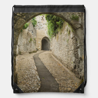 Grey Cobblestone street, France Drawstring Bag