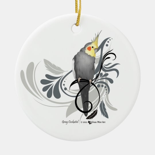 Grey Cockatiel Christmas Ornament