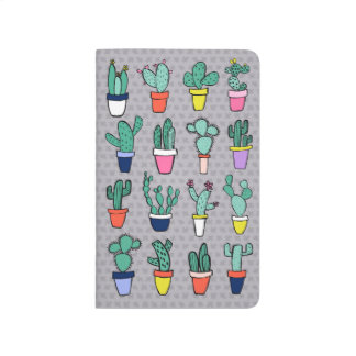 Grey Colorful Cactuses Illustrations Patterned Journal