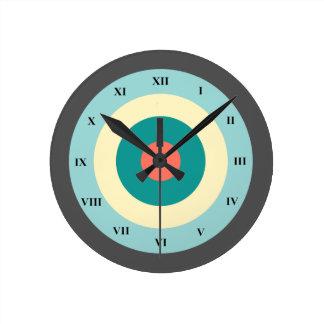 Grey Combination Bullseye by Shirley Taylor Round Clock