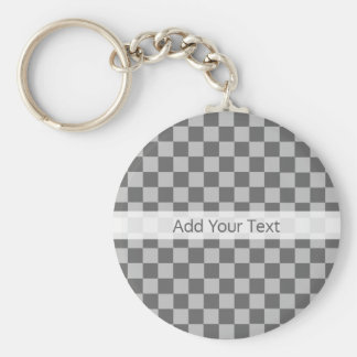 Grey Combination Checkerboard by Shirley Taylor Basic Round Button Key Ring