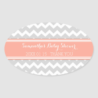 Grey Coral Chevron Baby Shower Favor Stickers