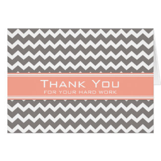 Grey Coral Chevron Employee Anniversary Card