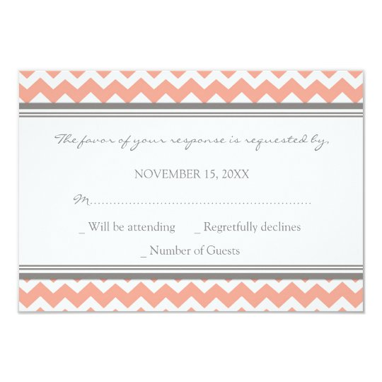 Grey Coral Chevron RSVP Wedding Card