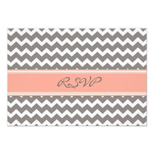 Grey Coral Chevron RSVP Wedding Card