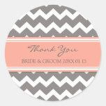 Grey Coral Chevron Thank You Wedding Favour Tags Round Sticker