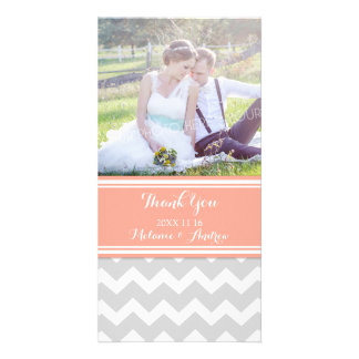 Grey Coral Chevron Thank You Wedding Photo Cards
