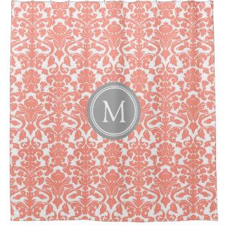 Grey Coral Damask Monogram Shower Curtain