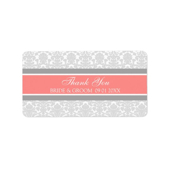 Grey Coral Damask Wedding Labels