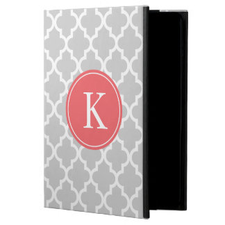 Grey Coral Moroccan Pattern Monogram iPad Air Cover