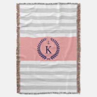 Grey Coral Nautical Stripes Personalized Monogram
