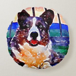 Grey Corgi with Blue eyes Round Cushion