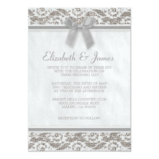 Grey Country Lace Wedding Invitations