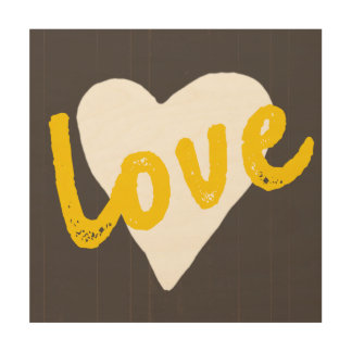Grey Cream and Golden Yellow Love Heart Wood Print