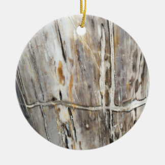Grey & Cream Wood Grain Ornament