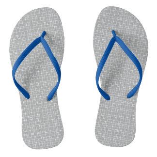 Grey Crosshatch Flip Flops
