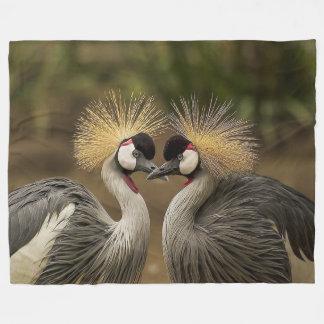 Grey Crowned Crane Birds Large Fleece Blanket