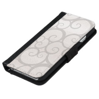 Grey curls lines iPhone 6 wallet case