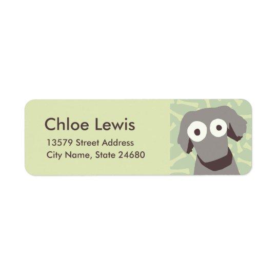 Grey Cute Dog Return Address Label