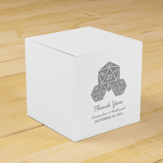 Grey D20 Dice Wedding Favour Boxes