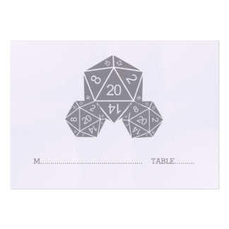 Grey D20 Dice Wedding Place Card Pack Of Chubby Business Cards