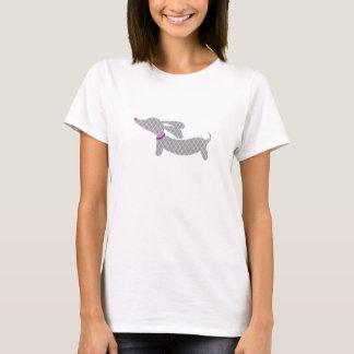 Grey Dachshund + Purple Heart Nose T-Shirt
