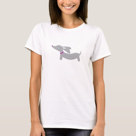 Grey Dachshund + Purple Heart Nose T-Shirt