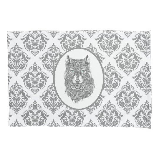 Grey Damask Patter Wolf Head Pillowcase