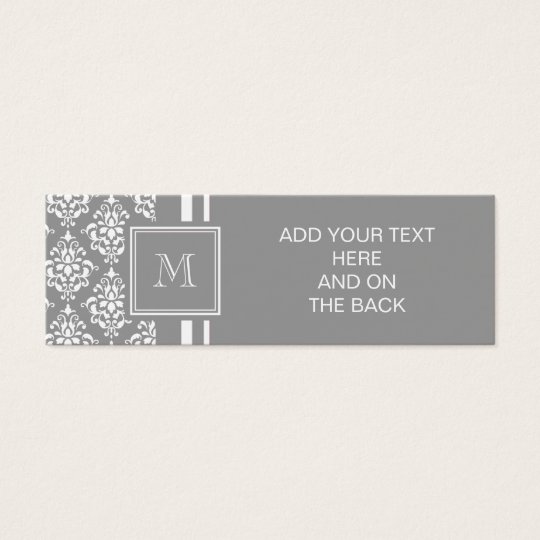 Grey Damask Pattern 1 with Monogram Mini Business Card