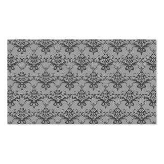 Grey damask pattern business card template