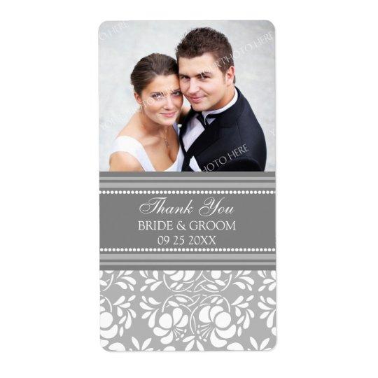 Grey Damask Photo Wedding Labels