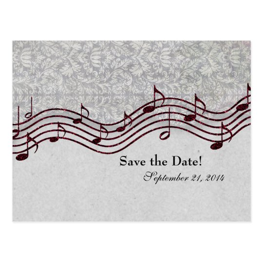 Grey Damask Red Music Save the Date Postcard