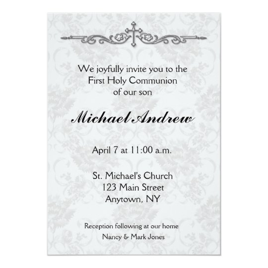 Grey Damask Religious Invitation