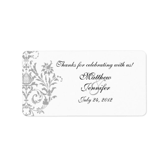 Grey Damask Wedding Favour Labels / Stickers