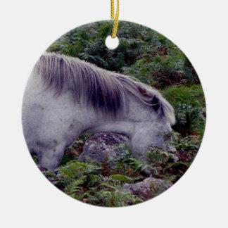 Grey dartmoor grazeing in breacon christmas ornament
