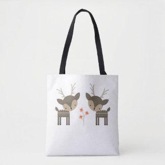 Grey Deer And Flowers Tote Bag