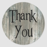 Grey Distressed Wood Rustic Thank You Stickers