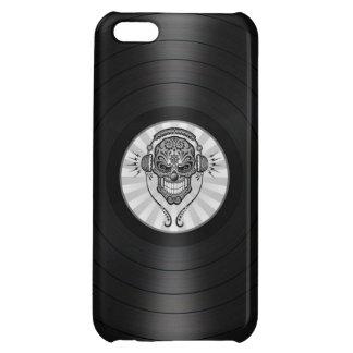 Grey Dj Sugar Skull on Vinyl Record Graphic Case For iPhone 5C