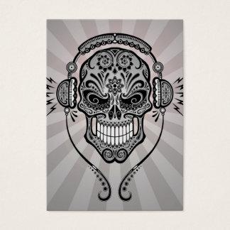 Grey DJ Sugar Skull with Rays of Light Business Card