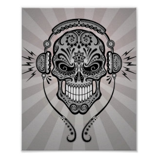 Grey DJ Sugar Skull with Rays of Light Poster