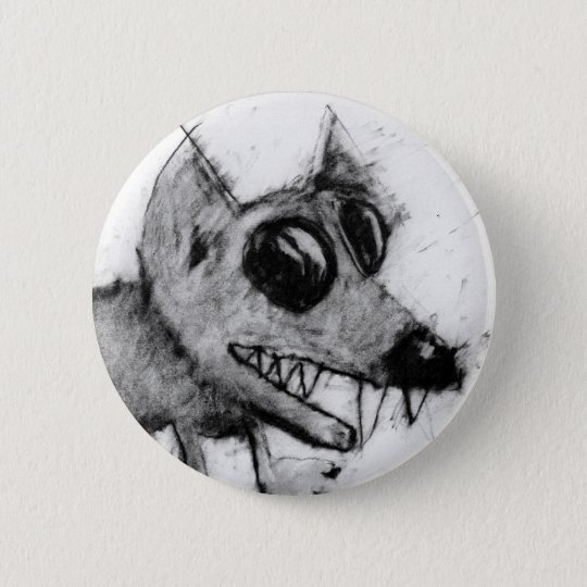 grey dog head button. 6 cm round badge