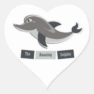 Grey Dolphin Heart Sticker