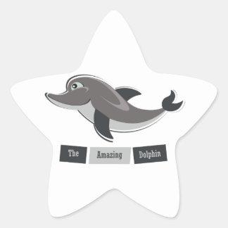 Grey Dolphin Star Sticker