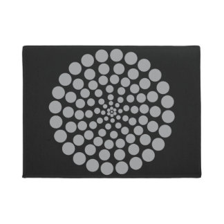 GREY DOT PRINT. CUSTOMIZABLE BACKGROUND COLOUR. DOORMAT