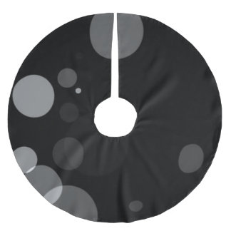 Grey Dots On Black Background Brushed Polyester Tree Skirt