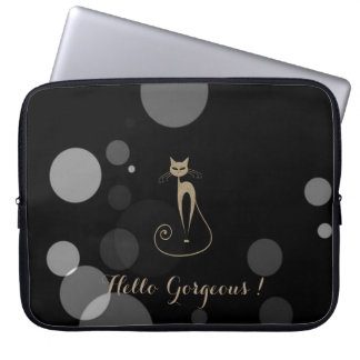 Grey Dots On Black Background,Cat,Hello Gorgeous Laptop Sleeve