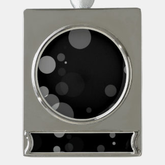 Grey Dots On Black Background Silver Plated Banner Ornament