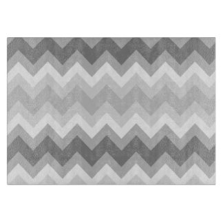 Grey Double Chevron Glass Cutting Board