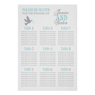 Grey dove aqua blue wedding seating table plan 1-9 poster