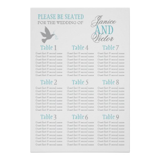 Grey dove aqua blue wedding seating table plan 1-9 print